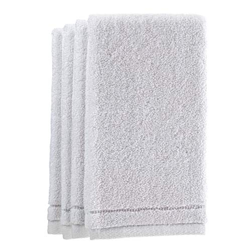 (Creative Scents Cotton Fingertip Towels Set - 4 Pack - 11 x 18 Inches Decorative Small Extra-Absorbent and Soft Terry Towel for Bathroom - Powder Room, Guest and Housewarming Gift (White))