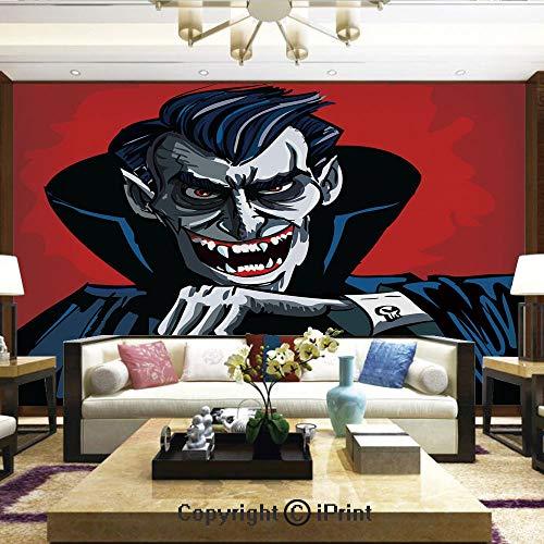 Lionpapa_mural Removable Wall Mural | Self-Adhesive Large Wallpaper,Cartoon Cruel Old Man with Cape Sharp Teeth Evil Creepy Smile Halloween Theme,Home Decor - 100x144 inches
