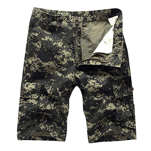 (LUCAMORE Men's Outdoor Camouflage Cargo Shorts Sports Casual Shorts with Multi-Pocket)