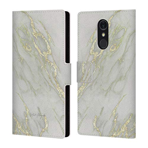 Official Nature Magick Yellow Rose Gold Marble and Metallic Leather Book Wallet Case Cover Compatible for LG Q Stylus/Q Stylo 4