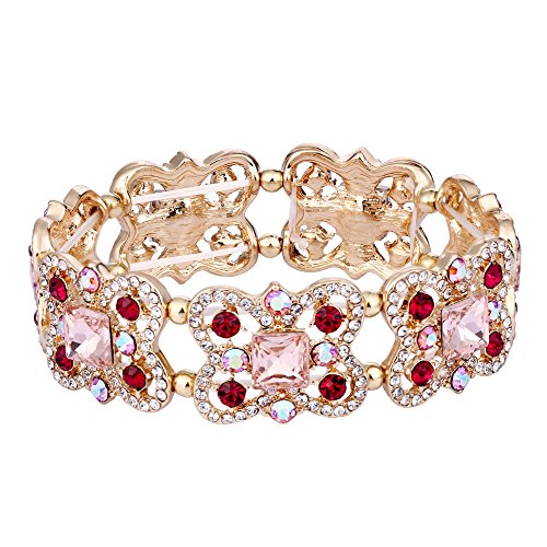 (EVER FAITH Austrian Crystal Art Deco Butterfly Bridal Elastic Stretch Bracelet Pink w/Red Gold-Tone)