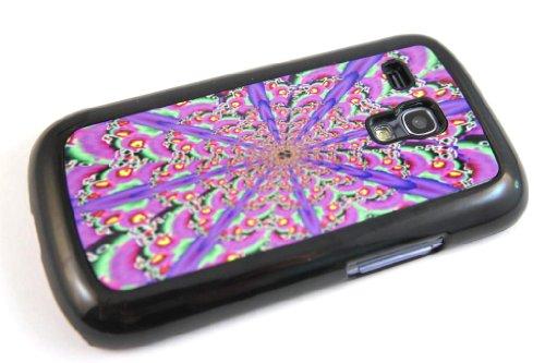Black Frame aztec geometric native kaleidoscope 3d rave designer Samsung Galaxy S3 Mini i8190 Case Back cover-Hard Plastic and Metal