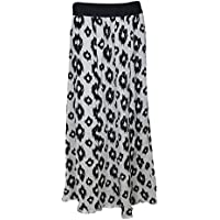 Mogul Interior Womens Long Skirts Evelyn Carnation Printed Rayon Summer Vacation Flare Gypsy Skirt S/M