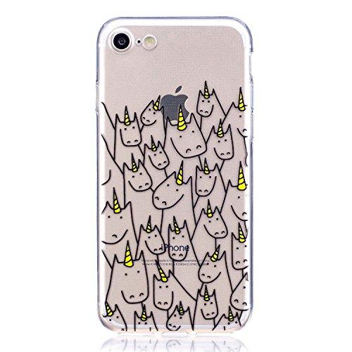 iPhone 7 Hülle , Leiai Modisch Ziege TPU Transparent Weich Tasche Schutzhülle Silikon Handyhülle Stoßdämpfende Schale Fall Case Shell für Apple iPhone 7