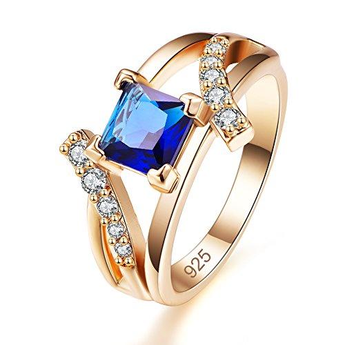 (Veunora Yellow Gold Plated 6x6mm Princess Cut Tanzanite Bypass Wedding Ring for Women Size 6 )