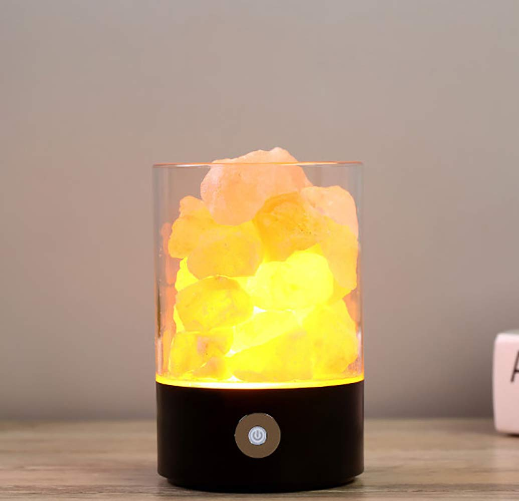 articoli promozionali Lampada di Sale di Cristallo Dell'himalaya Coloreful Creativo LED Night Night Night Light USB Plug-in Romantico Regalo Camera da Letto Comodino Lampada da Tavolo,Roundnero  prima i clienti