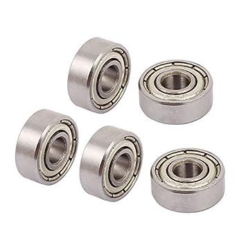 eDealMax metálico protegido Sealed velocidad Baja rodamiento rígido de Bolas 4mmx11mmx4mm 5pcs tono de Plata