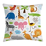 Ambesonne Animal Throw Pillow Cushion Cover, Cute Giraffe Elephant Zebra Turtle Kids Nursery Baby Themed Cartoon Comic Print, Decorative Square Accent Pillow Case, 18 X 18 Inches, Multicolor