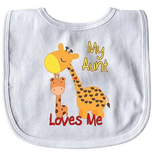(Inktastic - My Aunt Loves Me Giraffe Baby Bib White 28fe5)