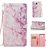 Cover Galaxy J7 2017 Marble Book White Rose, Misteem Colorful Fantasy Marble Pattern Soft Leather Credit Card Holder Wallet Shockproof Case Protective Shell for Samsung Galaxy J7 2017 J730