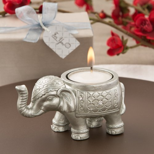 30 Good Luck Silver Indian Elephant Candle Holder by Fashioncraft by Fashioncraft