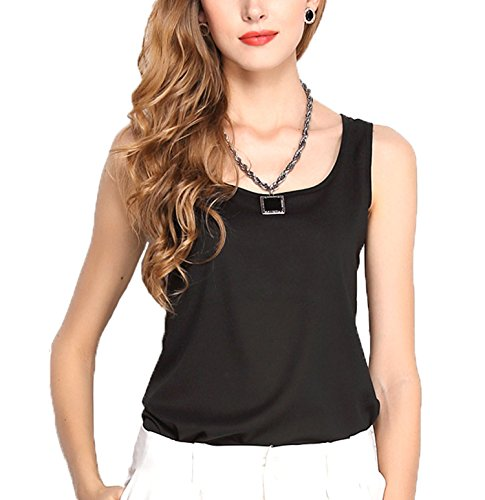 Ouduokiya Black and White Tank Tops for Women Chiffon O-neck Solid Summer Style Cami Shirts (S, Black)