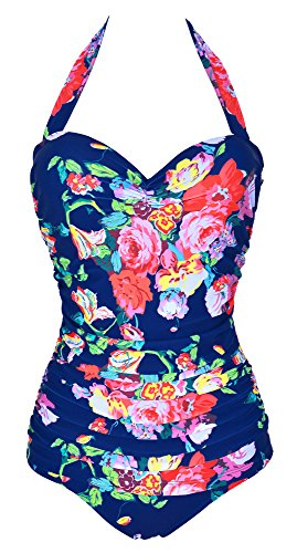 Ebuddy 50s Elegant Inspired Retro Vintage One Piece Pin up Monokinis Swimsuit,XXL (US10-12),Colorful+Blue