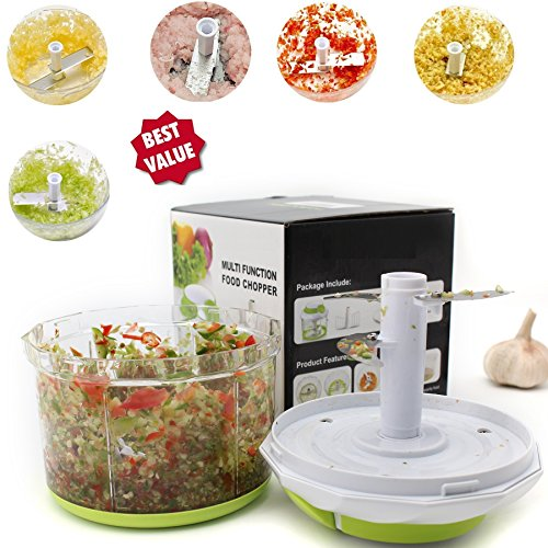 Arc Shaped Blade Manual Food Chopper Compact & Hand Held Vegetable Dicer, Mincer, Blender to Chop Fruits, Vegetables, Nuts, Herbs, Onions, Garlic for Salsa, Salad, Pesto, Coleslaw, Puree-4 Cup