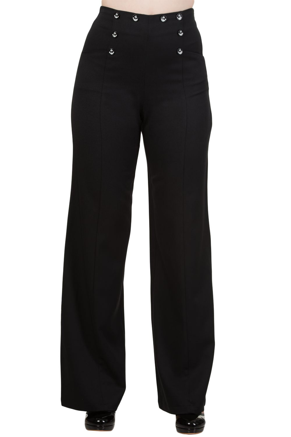 Banned 50's Vintage Sailor High Waist Double Buttoned Wide Leg bell flare Pants (XS, Black )