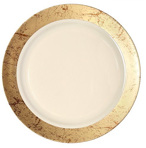 Party Joy 'I Can't Believe It's Plastic' 50-Piece Plastic Dinner Plate Set | Marble Collection | Heavy Duty Premium Plastic Plates for Wedding, Parties, Camping & More (Gold) (Dinner Set Marble)