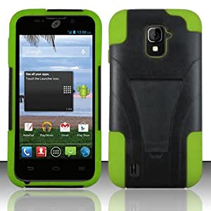 Black/Neon Green Dual Layer Shockproof Kickstand Case + Atom LED Keychain Light for ZTE Majesty Z796C