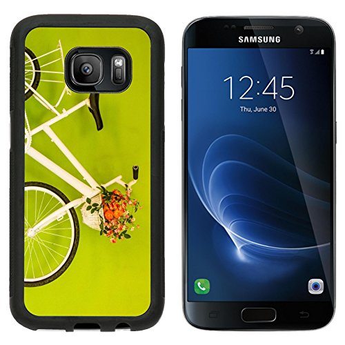 Luxlady Premium Samsung Galaxy S7 Aluminum Backplate Bumper Snap Case IMAGE ID: 24040327 White bicycle with flower on green grasses and yellow wall