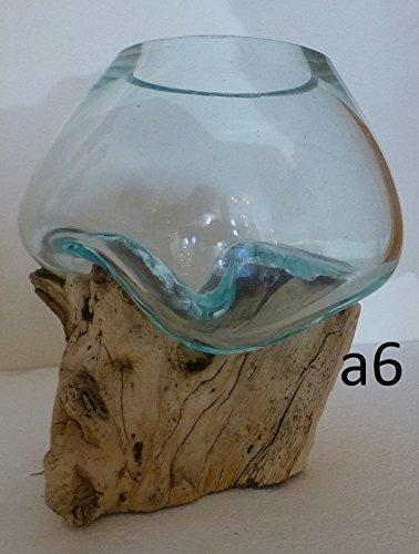 mod/èle Unique Hauteur Environ 12cm Choix sur Photos envoy/ées apr/ès la Commande. exotica import Vase en Verre soufll/é sur Racine de Bois