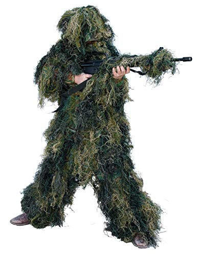 Red Rock Outdoor Gear Men's Youth Ghillie Suit, Woodland Camouflage, - Woodland Suit Camouflage