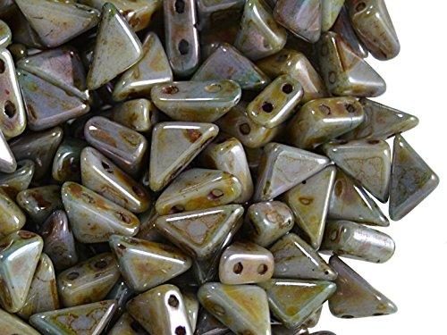 24pcs Czech Pressed Glass Beads Tango,2-Hole, Triangle, 6x6x8 mm, Opal (Opal Glass Triangles)