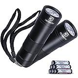 Dennov 12 LED UV Flashlight Blacklight, Pets Urine and Stains Detector, Pack of 2