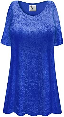 Royal Blue Crush Velvet Plus Size Supersize Extra Long A-Line Top