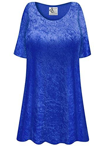Royal Blue Crush Velvet Plus Size Supersize Extra Long A-Line Top 3x