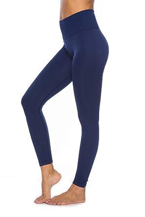 E T Legging Femme Pantalon Yoga Sport Fitness Longue Taille Haute Leggings  Elastiques Sculptants pour Gym Running 925d9a4c251