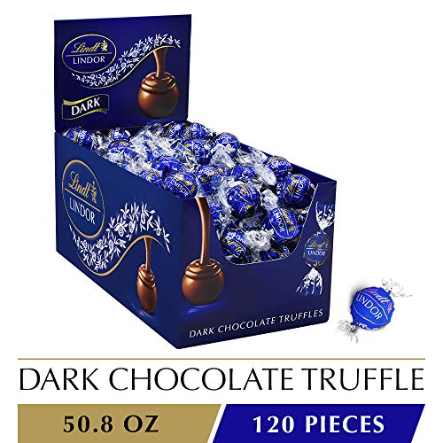 Lindt LINDOR Dark Chocolate Truffles, Kosher, 120 Count, 50.8 -