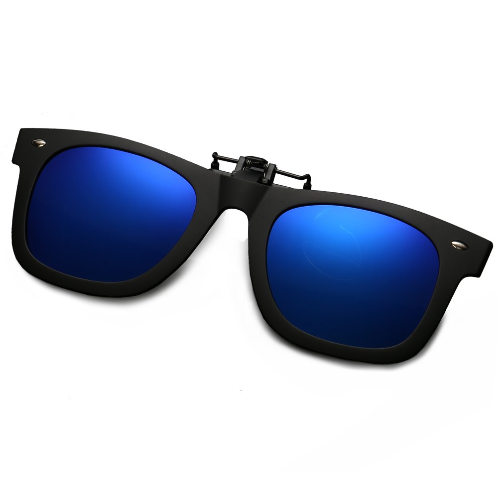 WELUK Polarized Clip On Flip Ups Sunglasses Wayfarer Style TR90 Frame UV400 Driving (Dark Blue, 60)