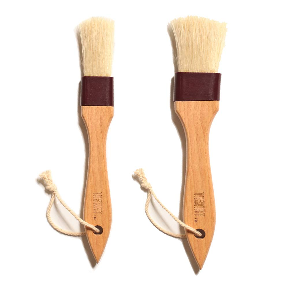 Pastry Brush Natural Bristle Wooden, MSART Basting/Food Brush, with Beech Wood Handle and Rope Hook, Great for Butter, Cookies, Oil, Bread, Frosting. Easy to Clean (1 inch & 1.5 inch set) by MSART