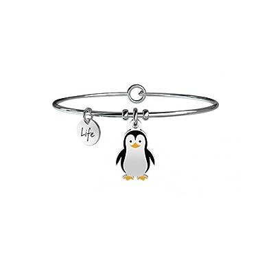 Kidult - Pulsera de acero 316L y colgante esmaltado con pingüino, código 731242.: Amazon.es: Joyería