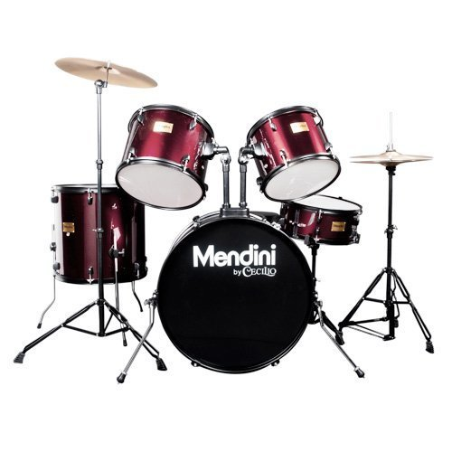 (Mendini by Cecilio Complete Full Size 5-Piece Adult Drum Set with Cymbals, Pedal, Throne, and Drumsticks, Metallic Wine Red, MDS80-WR)