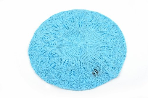 Women's Light Beret Knitted Style for Spring Summer Fall 137HB (Sky Blue)