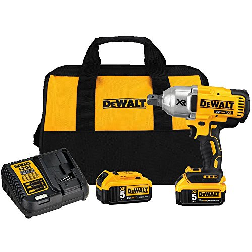 DeWALT DCF897P2 5 Ah 20V MAX XR High Torque 3/4-Inch Impact Wrench with Hog Ring Retention Pin Anvil by DEWALT