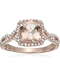 14k Rose Gold Morganite and Diamond Cushion Infinity Shank Engagement Ring(1/4cttw, H-I Color, SI1-SI2 Clarity), Size 8
