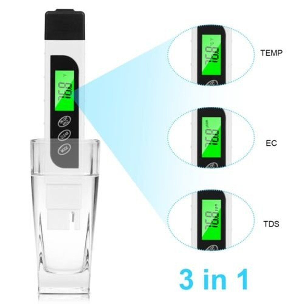 Water Quality Tester, TDS Meter, EC Meter & Temperature Meter 3 in 1, 0-9990ppm,Ideal Water Test Kit for Drinking Water, Aquariums and More