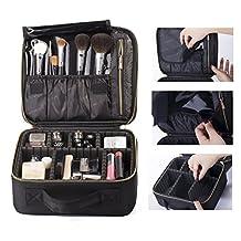 ROWNYEON Cosmetic Bag Makeup Artist / Makeup Train Case/ Portable EVA Makeup Organizer Case (Small Black)