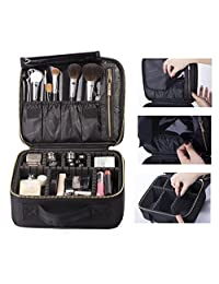 ROWNYEON Cosmetic Bag Makeup Artist / Makeup Train Case/ Portable EVA Makeup Organizer Case (Small Black)