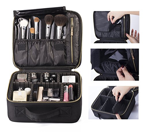 Price comparison product image ROWNYEON Mini Makeup Train Case/Travel Makeup Case/Makeup Organizer Bag with Portable EVA and freely combined