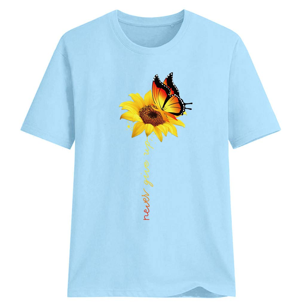 LUXISDE Womens Tops Womens Tops Short Sleeve Women Plus Size Sunflower Print Short Sleeved T-Shirt Blouse Tops