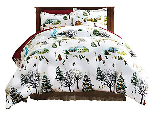 Bits and Pieces - Christmas Village King Duvet Bedding Set - Soft Microfiber Reversible Comforter Cover, Christmas Printed Pattern, Easy-Care with Matching Standard Shams