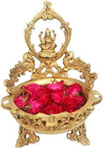 Crafting with Love A Handmade Beautiful Brass Eye CATCHING Lakshmi URLI Enhance The Beauty of Your Home AS A Show Piece ON A Table TOP, Size : H: 13