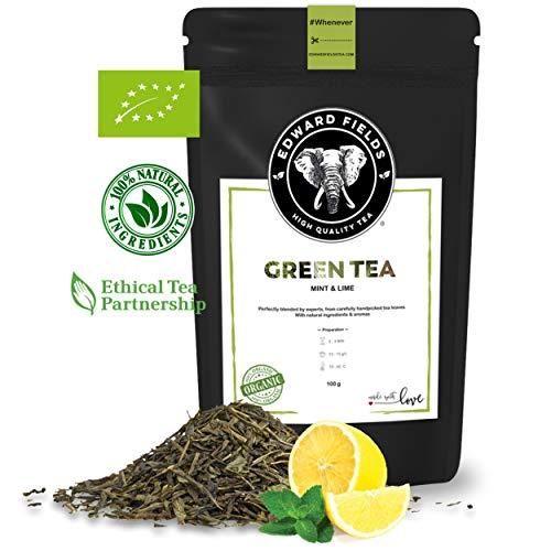 Edward Fields - Te Verde Organico a Granel con Menta y Limon, 100 Gramos Ingredientes y aromas naturales Origen China Detox, antioxidante, adelgazante