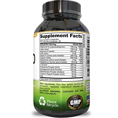 Thyroid Support Effective Blend for Weight Control Mix of Herbal Supplements for Thyroid Metabolism L Tyrosine, Kelp, Ashwaganda and Bladderwrack for Hormone Support by Natures Design