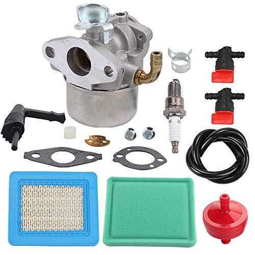 Allong Carburetor Air Filter Spark Plug Fuel Hose Shut Off Valve for Briggs & Stratton Craftsman Tiller Intek 190 6 HP 206 5.5hp Engine Motor 6.5 HP Intek Power Washer Go Kart Generator 791077 696981 - Engine 6 Intek Hp Briggs