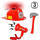 Fireman Accessories - 3 Pc Set - Firefighter Dress Up - Role Play Toys - Pretend Play Red
