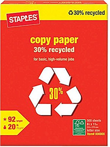 Staples 30 Recycled Copy Fax Laser Inkjet Printer Paper 92 Bright White Acid Free Ream