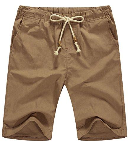 NITAGUT Men's Linen Casual Classic Fit Short (3XL(US 48-50), 03 Dark Khaki)